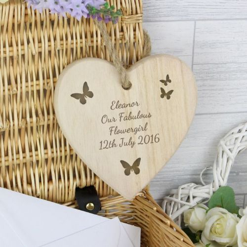 Butterfly Chunky Wooden Heart Decoration